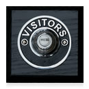 Byron Period Style Wireless Bell Push, Visitor Chrome/Black Ash
