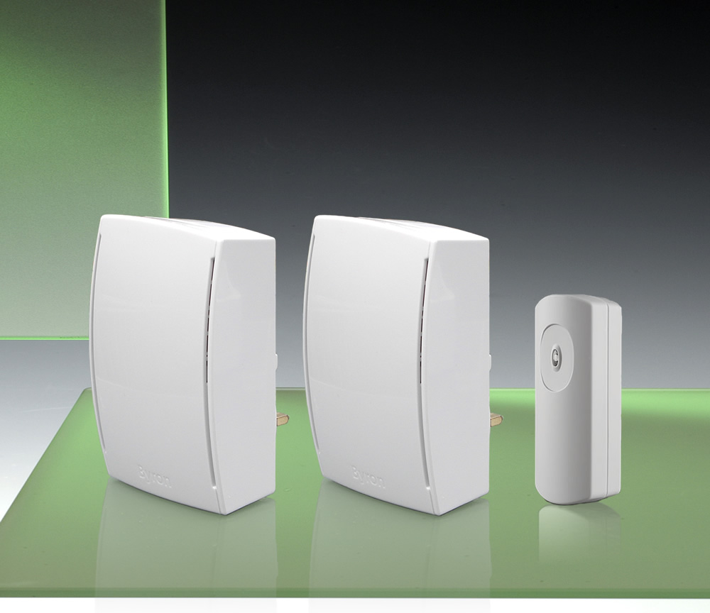 125m Twin Plug-in Door Chime Kit with Wired to Wirefree Extender,
