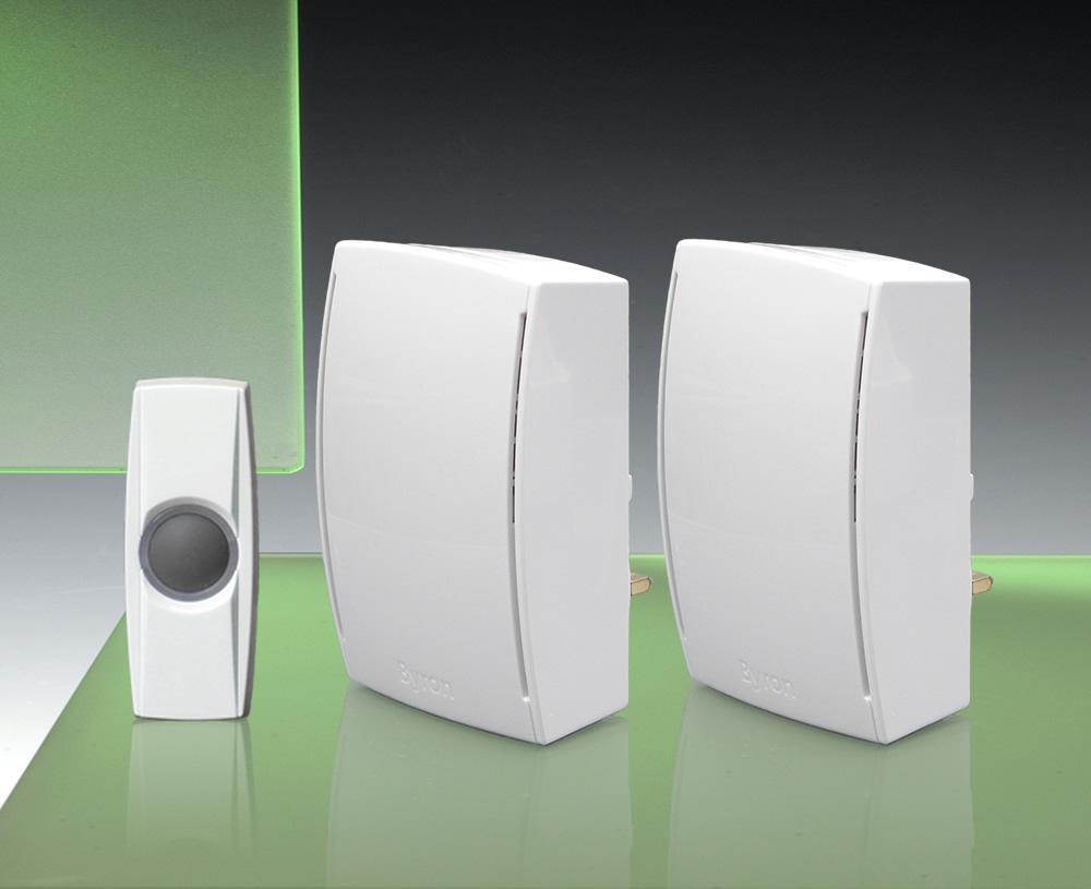 Byron 125m Wireless Twin Plug In Doorbell Kit