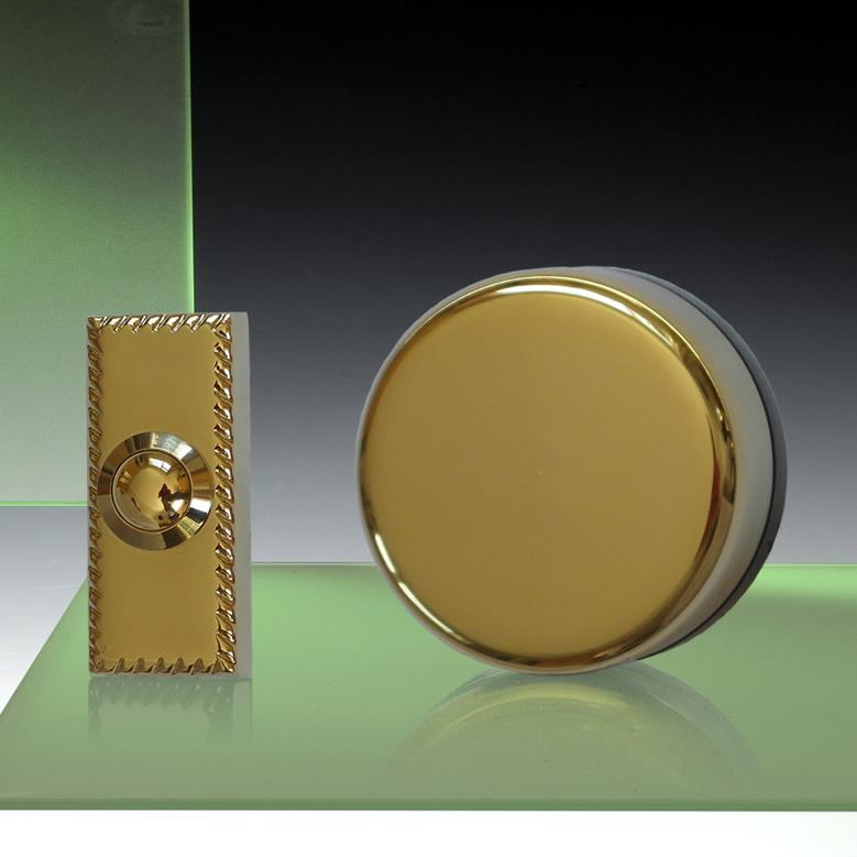 Wind Up Mechanical Doorbell Brass With Brass Push