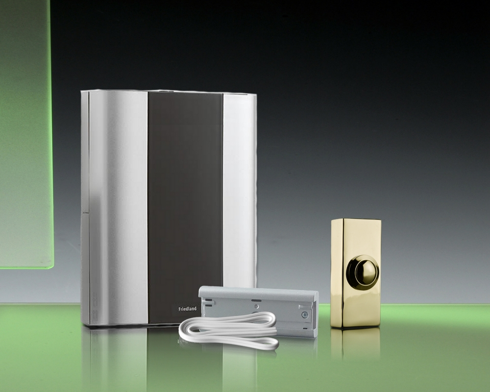 Libra+ Classic 100m Wireless Chime kit Extender/Wired Brass Push,