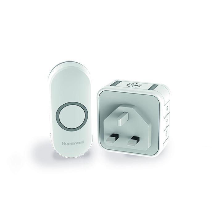 Honeywell 150m Wireless Plug-in Doorbell kit,White,