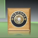 Period Style Wireless Brass Visitors Push on Honey Oak Plinth