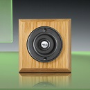 Period Style Wireless Matte Black Bell Push on Honey Oak Plinth