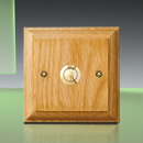 "Honey Oak Plinth, varnished, 105mm (4.1"") square with brass push"