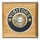Byron Period Style Wireless Visitor Brass Push on Honey Oak