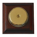 Wired Wall Mounted Underdome Brass Doorbell on Mahogany Plinth