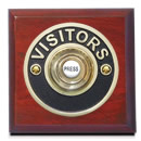 Byron Period Style Wireless Visitor Brass Push on Mahogany