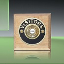 Period Style Wireless Brass Visitors Push on Natural Oak Plinth