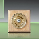 Period Style Wireless Brass Bell Push on Unvarnished Oak Plinth