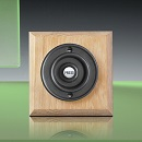 Period Style Wireless Matte Black Bell Push/Natural Oak Plinth