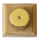 Wired Wall Mounted Underdome Brass Doorbell, Natural Oak Plinth