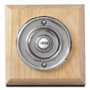 Byron Period Style Wireless Chrome Bell Push on Unvarnished Oak