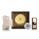 Brass and Tudor Oak Doorbell Kit with Transformer and Push