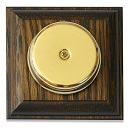 Wired Wall Mounted Underdome Brass Doorbell on Tudor Oak Plinth