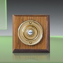 Period Style Wireless Brass Bell Push on Tudor Oak Plinth