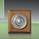 Period Style Wireless Chrome Bell Push on Tudor Oak Plinth