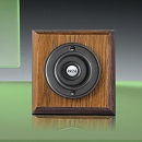 Period Style Wireless Matte Black Bell Push on Tudor Oak Plinth