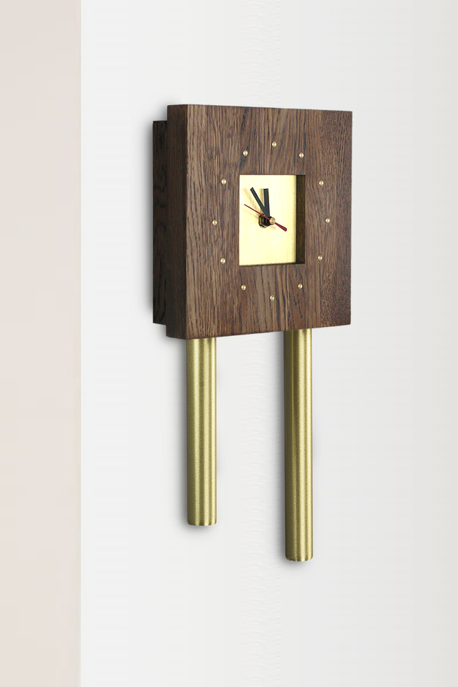 Mini Tubular Doorbell Rustic Wood Cover Brass Tubes And