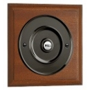 Mahogany Plinth, varnished, 140mm square, 100mm Matte Black Push